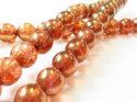 Rund tjeckisk fire polish pärla, Crystal Roze Gold Topaz Luster, 00030/65491. 8 mm. En sträng.