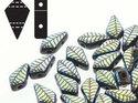 Kite bead, två-hålig tjeckisk pärla, Jet Laser Leaf. 9*5 mm. 5 gram
