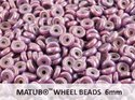 Wheel Bead, Chalk Vega Luster, 6 mm. 10 gram.