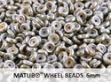Wheel Bead, Chalk Blue Lazure, 6 mm. 10 gram.