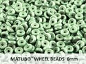 Wheel Bead, Chalk Green Luster, 6 mm. 10 gram.