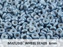 Wheel Bead, Chalk Blue Luster, 6 mm. 10 gram.