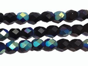 Fasetterad tjeckisk fire polish pärla i svart matt AB, 6 mm. En sträng.