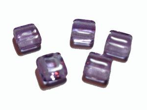 Tjeckisk 2-hålig tilepärla i syrenlila, 6 mm. 20-pack.