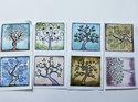 Bilder till kvadratiska glascabochoner, 24 mm. Livets träd, 4 stycken.