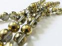 Rund tjeckisk fire polish pärla, Crystal Amber, 00030/26441. 8 mm. En sträng.