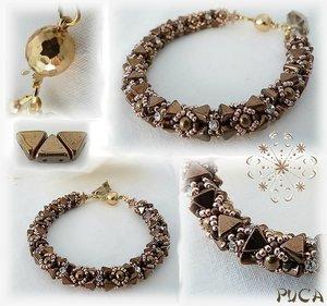 Khéops® par Puca® i mörk brons, triangelformad två-hålig pärla, 6 mm. 10 gram