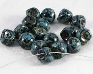 Mushroom beads Jet Picasso, 9*8 mm.20 pärlor/förpackning.