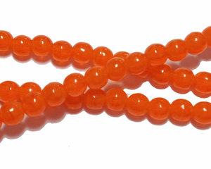 Halvopaka oranga runda glaspärlor, 4 mm. En sträng