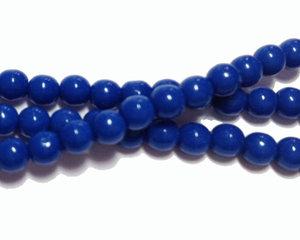 Opaka Blåa runda glaspärlor, 4 mm. En sträng