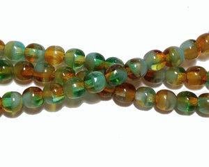 Halvopaka melerade ljusbruna och turkosgröna runda glaspärlor, 4 mm. En sträng