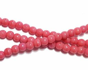 Opaka ljusrosa runda glaspärlor, 4 mm. En sträng