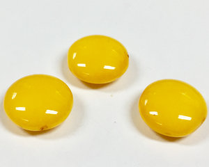 Cushion bead, 14 mm. Shiny Vivid Yellow. 3-pack.