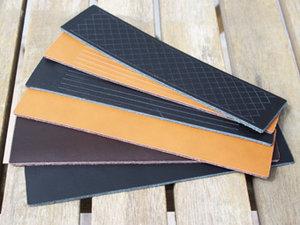 Brunt/naturfärgat brett 40 mm läder, 16,5 cm längd.
