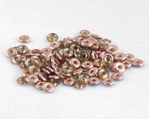 O-bead, Peridot Capri Gold. 5 gram