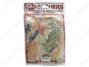 Kalkonfjädrar i blandade mjuka färger, 14 gram.