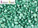 Button Bead, Metallic Mat Green Turqoise, 29455. 30-pack.
