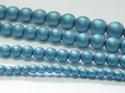Rund druk tjeckisk pärla, Alabaster Metallic Mat Blue Turqoise, 29436. 6 mm. En längre sträng, 16 cm.