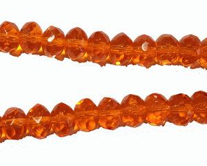 Orange fasetterad donutpärla, 6*9 mm. En 12 cm sträng.