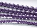 Rund druk tjeckisk pärla, Alabaster Metallic Purple, 29425. 4 mm. En längre sträng, 16 cm.