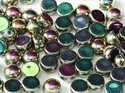 Cabochon en tvåhålig pärla, 6 mm. Crystal Full Vitrail Green, 00030/29443. 10-pack.