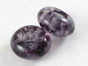 Donutpärla med stort hål, 9*14 mm, crystal grå marble. 2-pack