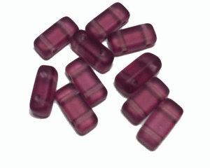 Tjeckisk lila matt 2-hålig tilepärla (brick), 4*8 mm. 20-pack.
