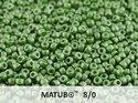 Matubo 8/0, Alabaster Pastel Olivine. 10 gram.