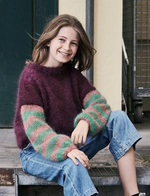Bred sweater med ränder till flickor - Bella