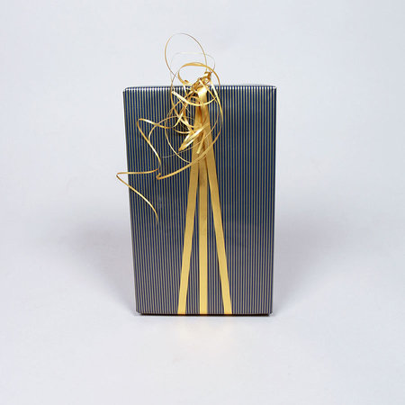 PRESENTPAPPER - Guld/blå randigt