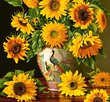 Sunflowers in a peacock vase 1000 Bitar Castorland