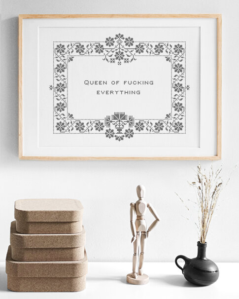 Cross stitch kit aida - Queen of fucking everything