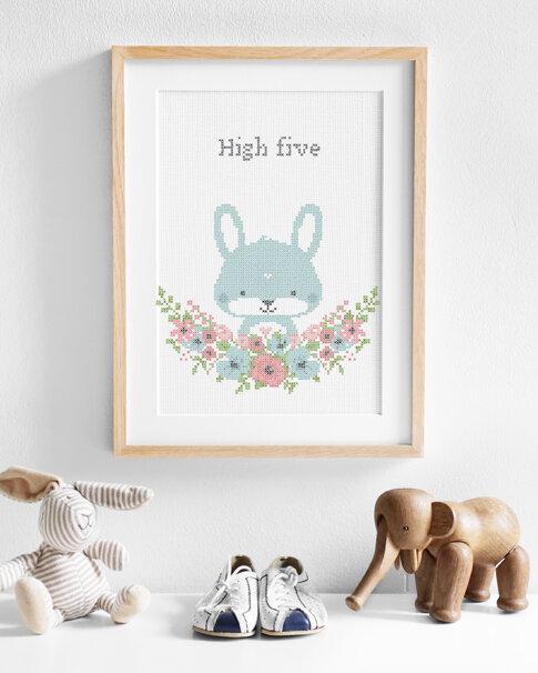 Cross stitch kit with aida - Flower friends Bunny