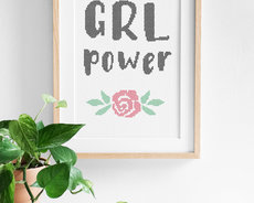 Cross stitch kit with aida - Grl Power