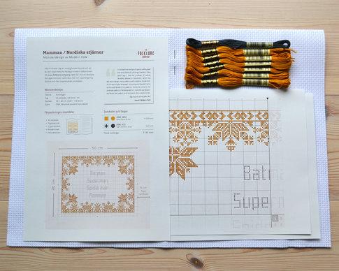 Cross stitch kit Mamman / Nordiska stjärnor (Swedish) - Aida