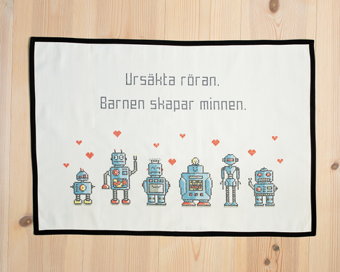 Ursäkta röran / We are the robots - Cross stitch kit with aida