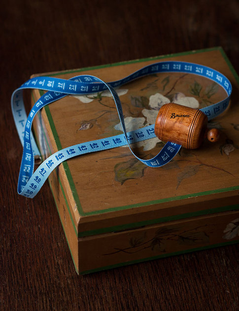 Blue wooden dressmaker's tape from Sajou