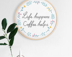 Cross stitch kit with aida - Life happens
