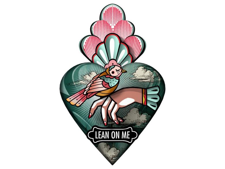 Väggdekor hjärta 'Lean on me'