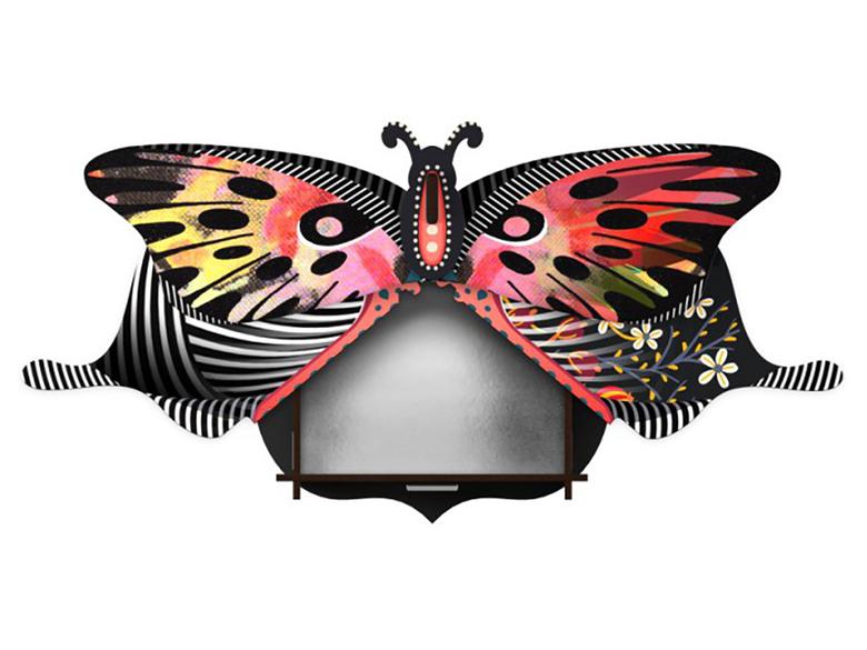 Väggskåp fjäril 'Violetta' med spegel