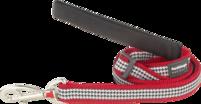 Rött hundkoppel med svart vitt tweed mönster Fang it