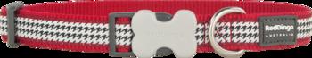 Rött Hundhalsband med svart vitt tweed mönster Fang it