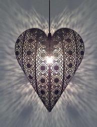 Hjärtlampa andra sortering lampa hjärta i antiksilver shabby chic lantlig stil