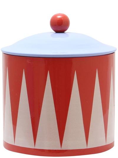 Gammaldags plåtburk röd retro lantlig stil shabby chic lantstil