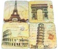 Glasunderlägg 4 set Paris, Rom shabby chic lantlig stil