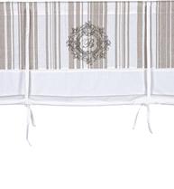 Hissgardin vit linne-beige randig monogram rullgardin shabby chic lantlig stil fransk lantstil