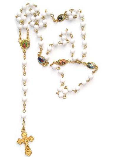 Radband rosenkrans vit guld pärlor och kors fransk lantstil shabby chic lantlig stil
