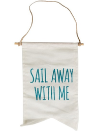 Vimpel sail away with me flagga shabby chic lantlig stil