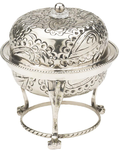 """Bowl """"antique silver"""" with lid Paisley pattern Lisbeth Dahl"""