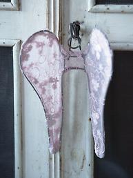 Mini vingar änglavingar rosa spets och tyll shabby chic, lantlig stil